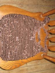 Brown Sequin String Bag