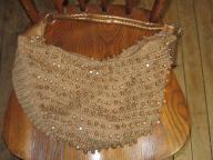 Brown Wood Bead String Bag