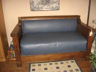 Antique wood & upholstered couch