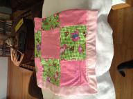 Pink teddy bear flannel receiving blanket