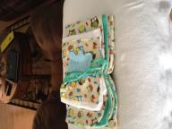 Receiving blanket, 12-month onesie and burp cloth
