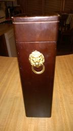 Vintage Bombay Company Wooden Box with lion, Brass Hardware