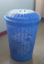 Clothes hamper & assorted waste baskets