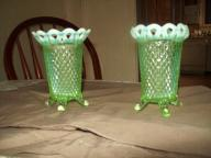 Pair of vintage green vaseline glass vases