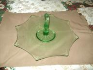 Serving Tray Depression Green Glass