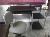 metal black computer desk w/ chair
