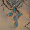 Blue toned silver plated pendant/necklace on teal ribbon