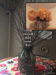 2 Large Iron and Glass Vases