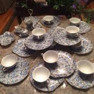 Vintage 1950's Blue Paisley Lefton Snack Set... 12 snack plates w