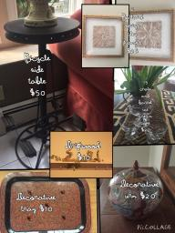 framed tiles, driftwood, urn, compote cups, decorative tray