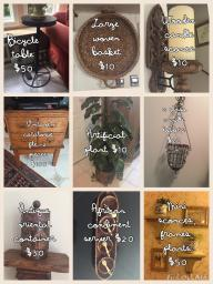 Catalogue file, oriental urn, ,baskets, candles, sconces, plants