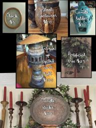 Clock, candle holders,Stool, Tree, Upcycled Cart Light