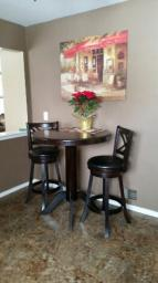 Art vsn cherry wood bar table and 2 stools