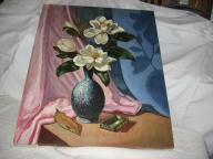 Oil painting on canvas, vase & flowers, signed