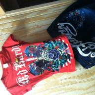 ed hardy shirt s red and jeans waist 29