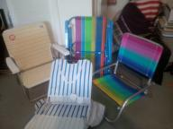 set of five beach chairs