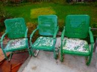 3 Antique Metal Springer Chairs