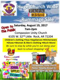 Huge Church Wide Back to School Rummage Sale