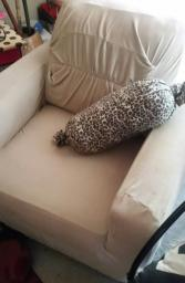 Brown chair with tan chair cover