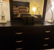 Black Chester with six drawers and mirror, with silver accent