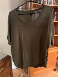 Women's army green short sleeved sweater