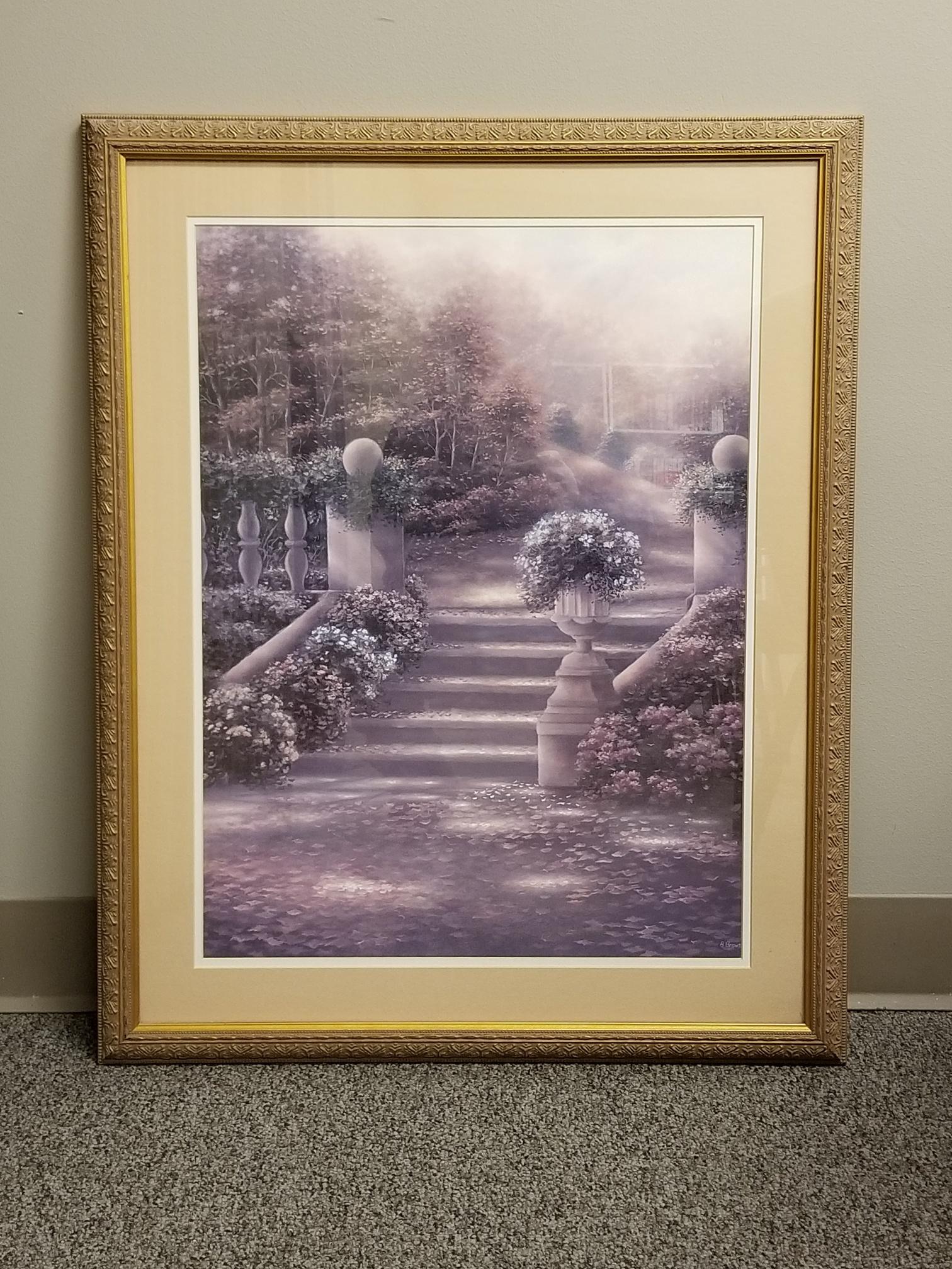 Framed Wall Art Purple Flowers Scene