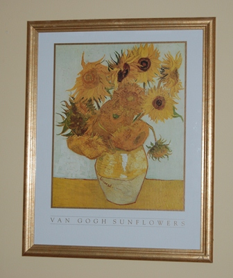 Framed Van Gogh Sunflowers Print In Lewis Garage Sale Fayetteville Ga